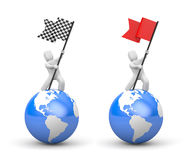 3d man waving flag. Set of two illustration. 3d illustration Royalty Free Stock Photos