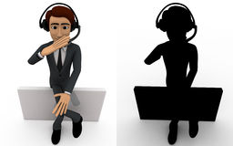 3d man wear headphone and sitting concept collections with alpha and shadow channel Royalty Free Stock Photography