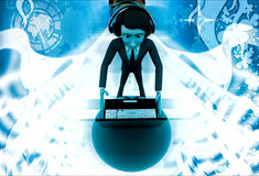 3d man wear headphone and working on laptop computer illustration Stock Image