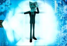 3d man wear unhappy mask illustration Stock Photography