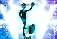 3d man wearing boxing gloves and with briefcase illustration Stock Photo