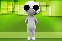 3d man wearing cooling glass illustration Stock Image