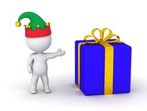 3D Man wearing elf hat showing wrapped gift Stock Images