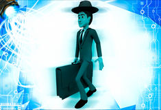 3d man wearing hat and walking with suitcase illustration Royalty Free Stock Photos