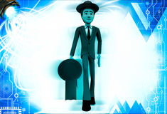 3d man wearing hat and walking with suitcase and torch illustration Royalty Free Stock Image
