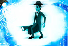 3d man wearing hat and walking with suitcase and torch illustration Stock Photography