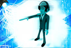 3d man wearing headphone and green helmet giving directions illustration Royalty Free Stock Photography