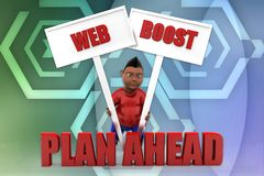 3d man web boost plan a head concept Stock Photo