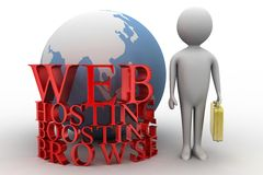 3d man with web hosting boosting browse concept Stock Images