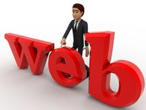 3d man with web text concept Royalty Free Stock Photo