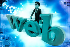 3d man with web text illustration Stock Photo