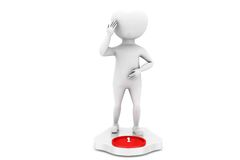 3d man on weighing scale concept Royalty Free Stock Photography