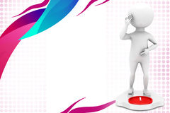 3d man on weighing scale  illustration Royalty Free Stock Image