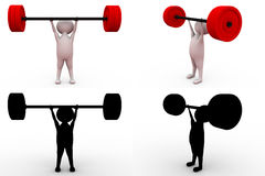 3d man weight lift concept collections with alpha and shadow channel Stock Photography