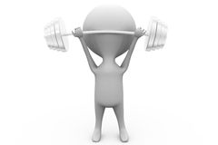 3d man weight lifting concept Royalty Free Stock Photo