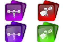 3d man weight lifting icon Royalty Free Stock Photos