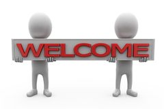 3d man welcome banner concept Stock Photography