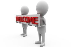 3d man welcome banner concept Stock Photos
