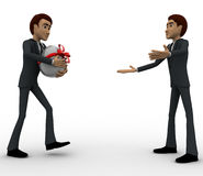 3d man welcoming and another person come with gift for him concept Royalty Free Stock Photography