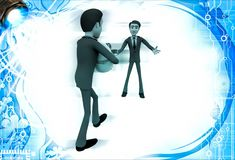 3d man welcoming and another person come with gift for him illustration Royalty Free Stock Photo