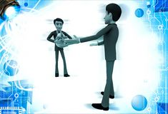 3d man welcoming and another person come with gift for him illustration Royalty Free Stock Images