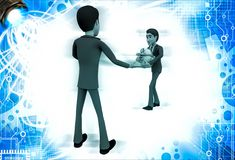 3d man welcoming and another person come with gift for him illustration Stock Photo
