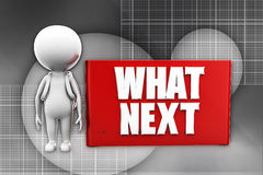 3d  man whats next banner illustration Royalty Free Stock Photography
