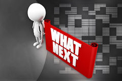 3d  man whats next banner illustration Stock Images