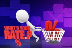 3d man whats your rate illustration Stock Image