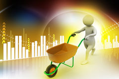 3d man with wheel barrow Stock Image