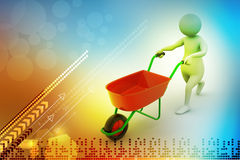 3d man with wheel barrow Stock Images
