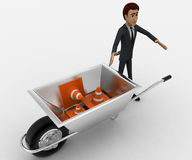 3d man with wheel borrow and traffic cones concept Royalty Free Stock Photo