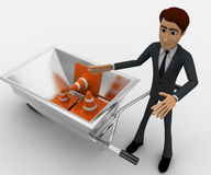 3d man with wheel borrow and traffic cones concept Royalty Free Stock Photos