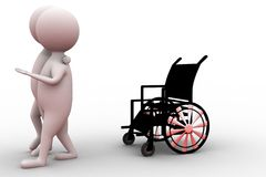 3d man with wheel chair concept Stock Photo