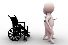 3d man with wheel chair concept Royalty Free Stock Images