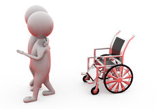 3d man on wheel chair concept Royalty Free Stock Photo