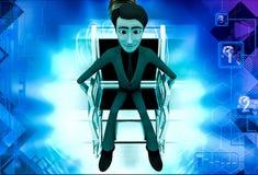 3d man on wheel chair illustration Royalty Free Stock Photos