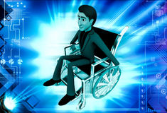 3d man on wheel chair illustration Royalty Free Stock Images