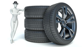 3d man with wheel. 3d image.  white background Stock Images