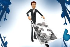 3d character pulling  wheel barrow puzzle illustration Royalty Free Stock Photo