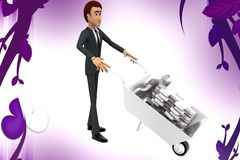 3d character moving wheel barrow contaning puzzle illustration Royalty Free Stock Photography