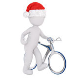 3d man wheeling his bicycle. Alongside him as he walks along wearing a red Santa hat, rendered illustration on white Royalty Free Stock Photography