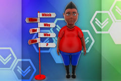 3d man which why who illustration Royalty Free Stock Images