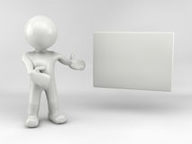 3d man. With white board Royalty Free Stock Image