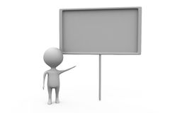 3d man white board concept Royalty Free Stock Photo