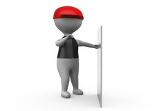 3d man white board concept Royalty Free Stock Images