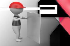 3d man white board illustration Stock Image