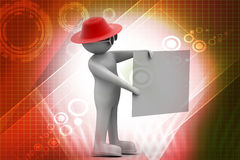 3d man with white card. In color background Stock Images