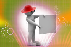 3d man with white card. In color background Royalty Free Stock Photo