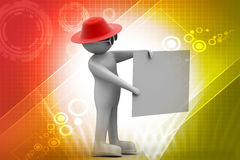 3d man with white card. In color background Royalty Free Stock Image